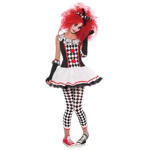 Halloween Women  Quinn Costume Harlequin Clown Circus Jester Masquerade Fancy Dress S-XXL