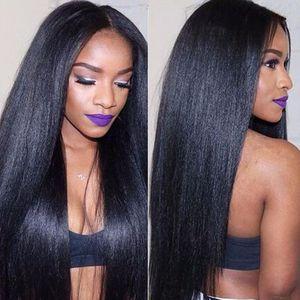 Легкие яки человеческие парики для волос для чернокожих женщин Яки прямые монгольские волосы кружевные фронтские парики отбеленные узлы