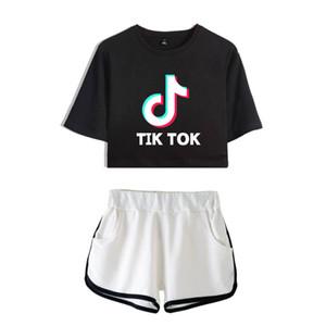 Tik tok yazılım 2019 Yeni Yaz Kpops Kadınlar İki Adet Set Şort Ve güzel tişörtler Giyim Sıcak Satış Harajuku Baskı