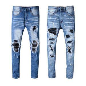 Skinny Mens Ripped Biker Jeans US 28~40 Slim Fit Motorcycle Biker Denim Painting Hip Hop Men Jeans