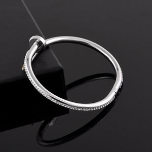 Braccialetto all'ingrosso donne degli uomini delle coppie di modo di chiodo dei monili del braccialetto del diamante di Bling dell'acciaio inossidabile 316L Bracciale No Fade design con la scatola