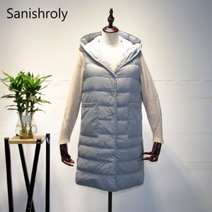 Sanishroly Spring Winter Women Hooded Sleeveless Waistcoat Ultra Light Duck Down Vest Female Midi Long Down Coat Parka Tops S416