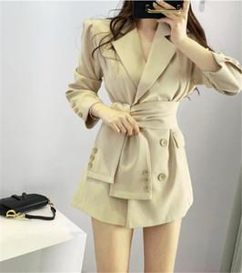 가을 겨울 여성 정장 패션 코트 턴 다운 칼라 더블 브레스트 직업 여성 의류 OL 사무실 숙녀 코트 작은 소송
