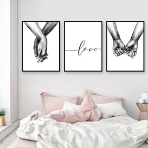 3pcs lot Unframed Black and White Holding Hands Love Letters Canvas Painting Wall Art for Living Room Home Decor No Frame