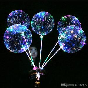 Lumineux LED Ballon Transparent Clair BoBo Balloon 18 pouces Lumière Boule D'hélium Vague Coloré pour Anniversaire De Mariage Fête De Noël Décoratif