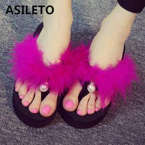 ASILETO mignon flip Furry de plage dames flops de fille Sandales d'été glisse Chaussons coins plate Sandalias mujer sapatos F520