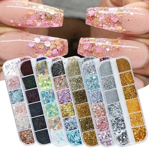 Verschiedene Art Holographic Nagel-Funkeln-Flakes Sequin 12pcs in 1 Rose Gold Silber DIY Schmetterlings-Dipping-Puder für Acrylnägel Kunst-Werkzeuge