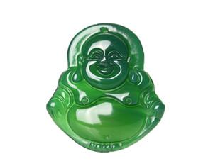 Belas Jóias puro natural ágata Verde Sorte Feliz riso Maitreya Buddha Pingente de colar Frete Grátis