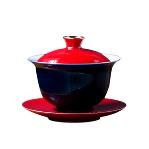 Красный керамический гайвань ручной работы чавань фарфор китайский кунг фу чайный сервиз супница чайная посуда аксессуары