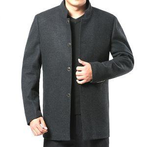 Mens Stand Collar Long Sleeve Blend Coat Winter Male Wool Coat Gray Woolen Jacket Oversize Thick Warm Casual Overcoat Men XXXL