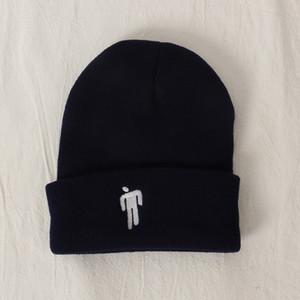 Bordados Billie Eilish Beanie Hat Mulheres Mens Malha Caps quentes Chapéus de Inverno para mulheres Homens Sólidos Hip-hop Casual Cuffed Gorros Bonnet