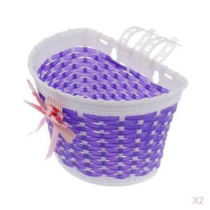 2x Kids Girls Bicycle Front Basket Bike Cycle Shopping Holder Purple
