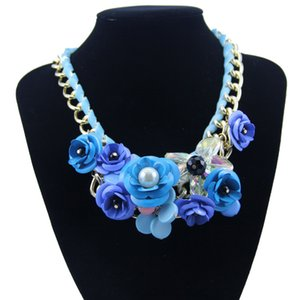 Acrylic Resin Flower Pendant Necklace Womens Crystal Gold Necklace