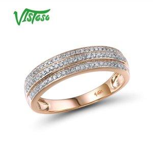 VISTOSO Gold Rings For Women Genuine 14K 585 Rose Gold Ring Sparkling Diamond Promise Engagement Rings Anniversary Fine Jewelry T200701