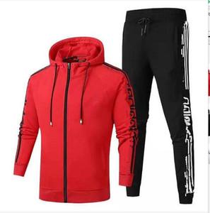 новые известные марки дизайнера мужской костюм осень зима Мужские костюмы письмо печати вышивка случайных мужчин Sports бегуны костюм