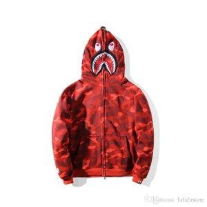 A Bathing A Ape 19Bape Full Zipper Shark Head Camo Red Hoodie Coat Jacket Sweatshirt