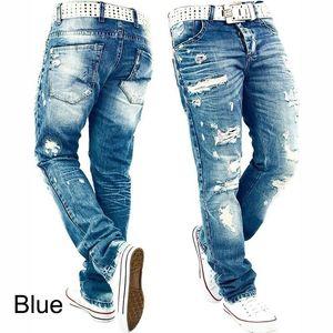 2 colori blu Nuovo Mens dei jeans del foro lavati slim fit a lungo Denim Blue Hip Hop dei pantaloni dei pantaloni della matita a Maschio