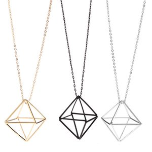 Womens Clothing Accessories Necklaces Three-Dimensional Hollow Triangle Geometry Sweater Necklace Female Long Necklace