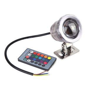 1000LM 10W 12V Unterwasser RGB LED-Licht Wasserdichtes IP68 Brunnen Teichbecken Lampe 16 Farbwechsel mit 24key IR Fernbedienung