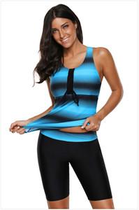 Damen Bikini Set Tank Tops Shorts Sexy Strand Plus Größe S-3XL Sommer Split Gradient Print Bademode Lässige Futter Pad Amerikanische Kleidung