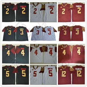 NCAA Florida State Seminoles # 3 Derwin James 4 Dalvin Cook 5 Jameis Winston 2 Deion Sanders 12 Deondre François FUS College Football Jerseys