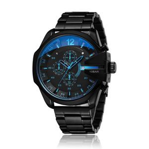 D4318 Mens-analoge Quarz-Uhr-Mode-Sport-Armbanduhr Wasserdicht Schwarz-Edelstahl-Männlichen Uhren Uhr Relogio Masculino Drop shipping