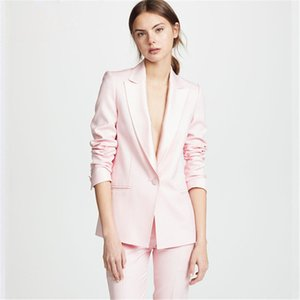 Business casual Outfit Suits Light Pink One Button di donne femminile 2 Pezzi Tailor Made Lady Ufficio Suits Costume Femme