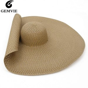 GEMVIE Oversized Straw Hat Summer Women Hat Packable Big Wide Brim Sun Beach 2020