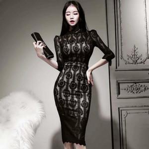 Printemps Lady Slim mi-longues Corée Tissu à manches 3/4 moulante taille haute de dentelle sexy Party Black Women Dress