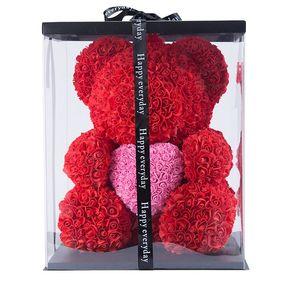 Dropshipping 40 cm con corazón Big Red Bear Rose Flor Decoración artificial Regalos de Navidad para mujeres Valentines Regalo con caja