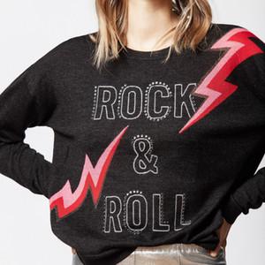 2019 Fall-Herbst Langarm Rundhals schwarze Buchstaben drucken Wollpullover Pullover Frauen Mode Pullover O1011Z