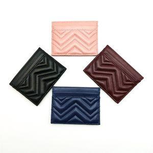 Mode-Qualitäts-echten Leder-Wave-klassische Männer Frauen Zig Zag Kreditkarte Echter Leder-Geldkarte-Halter Mini Geldbörse mit Kasten