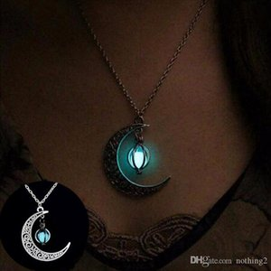 designer jewelry women's necklace Sailor Moon Necklace Stone Glow In The Dark Half Crescent Moon Necklace Silver for Halloween Gift