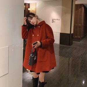 Brasão Causal Abotoamento MiShow Mulheres Festival de Inverno Estilo de lã linha reta solta Red Jacket Tops MX19D9723