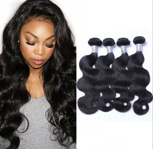 "Peruvian Body Wave Hair Weave Bundles Natural Color Human Hair 4 Piece 8-28"" Virgin Hair Extensions"