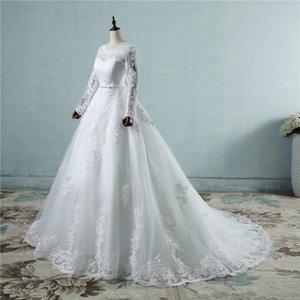 custom made Corset lace up 2018 Wedding Dresses with lace edge big train long sleeves for brides formal plus size 2019 Bridal Gowns
