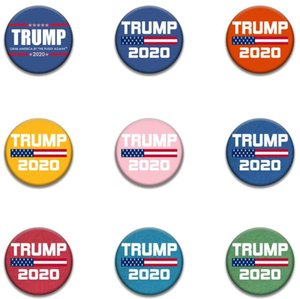 Donald Trump Brooch Pins 2020 America President Election Badges Metal Armband Round Brooches For Coat Decoration Party Favor GGA3450-6