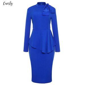 2020 Autumn Fashion Women Office Dresses Peplum Pencil Dress Sleeve Formal Business Attire Wear To Twill Work Dresses Outfits