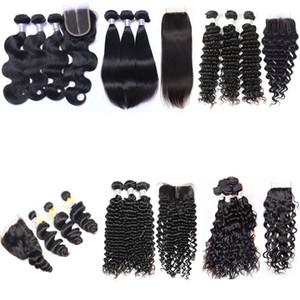 Curly 8A Virgem Water Weave Pacotes Molhados Profundos 3 Encerramento Unprocessed Human Human Body Wave Straight com laço de cabelo brasileiro e ondulado Clos Xugu