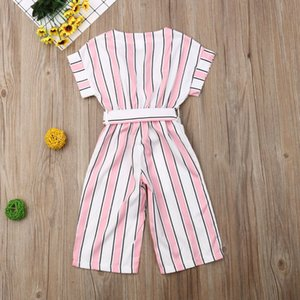 2-7Y Summer Toddler New Baby Kid Girl Rompers Short Sleeve Stripe Jumpsuit Overalls Outfit Set