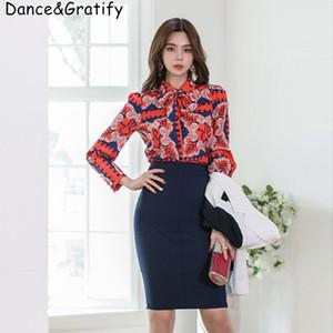 2019 뉴 여름 패션 여성용 사무실 비즈니스 워크 세트 인쇄 턴 다운 칼라 셔츠 + 미디 바디콘 스커트 2 피스 수트