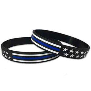 4 stili US Wrist Band US linea rossa blu e American Flag silicone del polso del braccialetto Party Band Favorire ZZA2158 5000Pcs