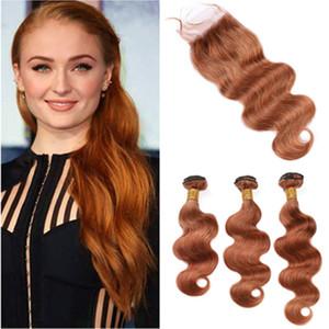 Medium Auburn Virgin Hair Закрытие с 3 Связки перуанский Body Wave Плетение человеческих волос Связки # 30 Auburn Extensions волос с Lace Closure