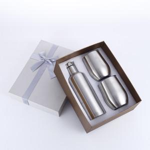 Set di vetro Wine Tumbler Set chiavetta dell'uovo Set in acciaio inox Confezione regalo Una bottiglia con 2 bicchieri 500ML