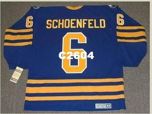 Mens # 6 JIM SCHOENFELD Buffalo Sabres 1976 CCM Vintage Retro Hockey Jersey o aduana cualquier nombre o número retro Jersey