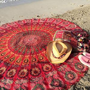 Chiffon Beach Towel Vintage Round Bath Shower Towel Anti-sunlight Shawl Yoga Mat Beach Towel 150cm Tablecloth Blanket Carpet