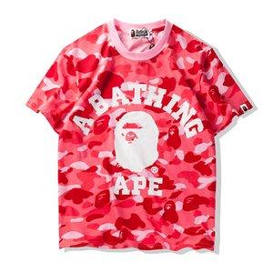 Тис Bape Mens T Shirt Мода Мужские Женские Короткие рукава Bathing Ape Мужчины высокого качества хлопка тенниски 4 цвета Размер M-XL
