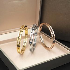 أزياء العلامة التجارية سوار مشبك سوار التيتانيوم الصلب زوجين سوار فاخر مصمم المجوهرات النسائية أساور الجملة