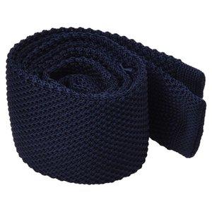 남성 패션 솔리드 타이 니트 니트 타이 퓨어 컬러 넥타이 좁은 슬림 짠 해군 블루