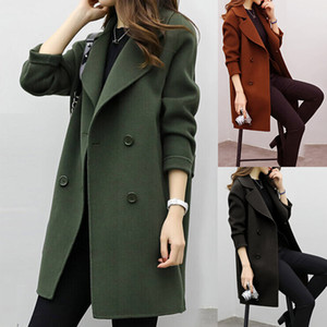 Women Artificial Wool Coat Thickening Autumn Winter Slim Fit Warm Outwear Turndown Collar Double Breasted Coats